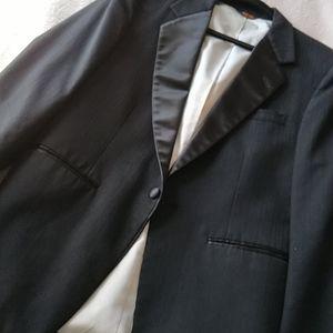 After Six Black Herringbone Wool Tuxedo Blazer 38S